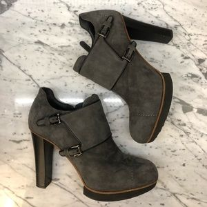 Tod's Grey Suede Leather Booties